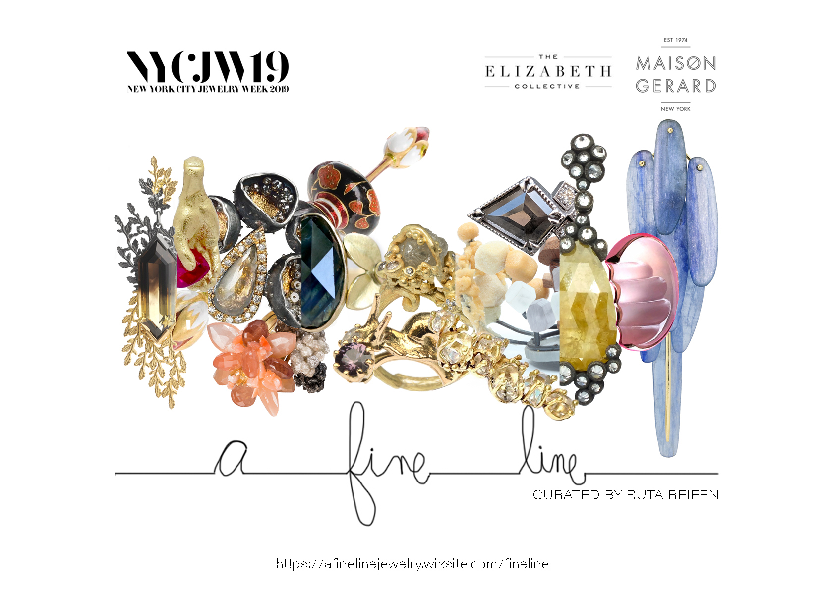 'A FINE LINE' Exhibition Invitation at the Elizabeth Collective, 10 West 56th Street, New York