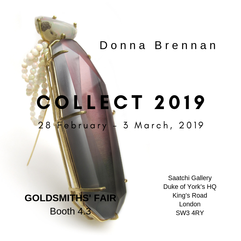 Donna Brennan's latest Dye Sublimation Lucite Brooches mounted on photographs from which she has extracted part of the image to form part of the brooch, will be shown by Goldsmiths' Fair at COLLECT 2019 at the Saatchi Gallery, Duke of York's HQ, Kings Road, London SW3 4RY from 28 February - 3 March 2019.