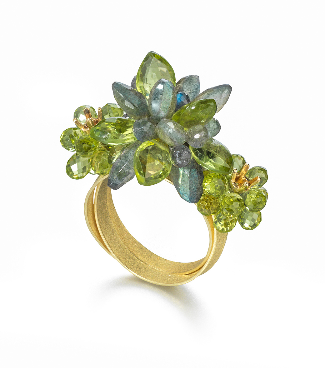 18ct Gold Cocktail Ring with clusters of Labradorite and Peridot