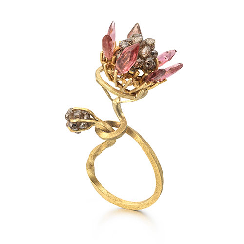 Sculptural En Tremblant 18ct Gold Ring with Diamonds and Pink Tourmaline hand-crafted by Donna Brennan.